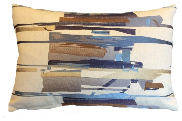 Taupebluebrowntan Abstract Brush Strokes Decorative Lumbar Pillow