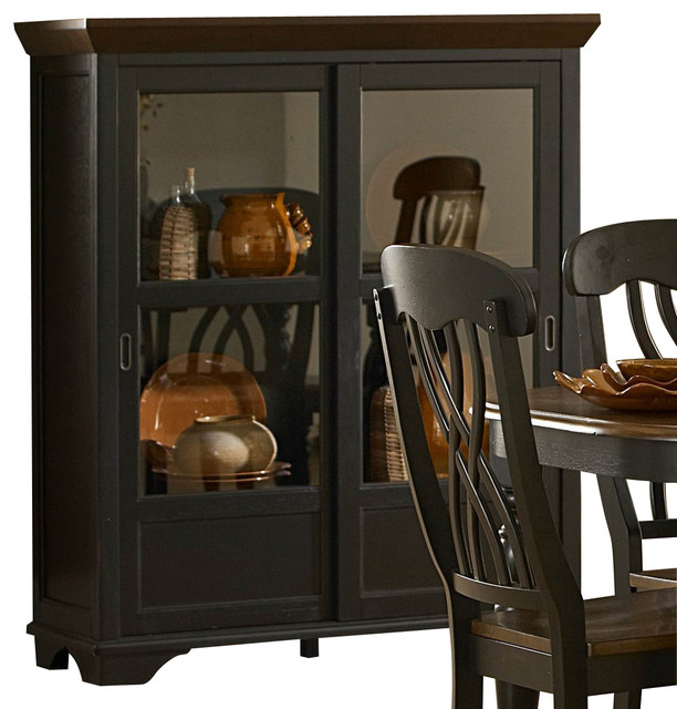 ... 46 Inch Curio in Black & Cherry traditional-china-cabinets-and-hutches