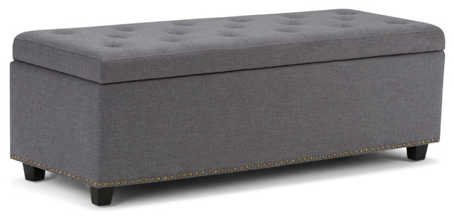 Ottomans Ellis Dark Grey Velvet Finish Storage Chest: Hamilton Large Rectangular Storage Ottoman Bench