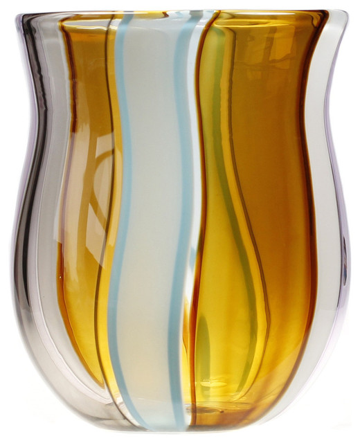 Multi Colored Amber Glass Vase Contemporary Vases By Karen Curtis
