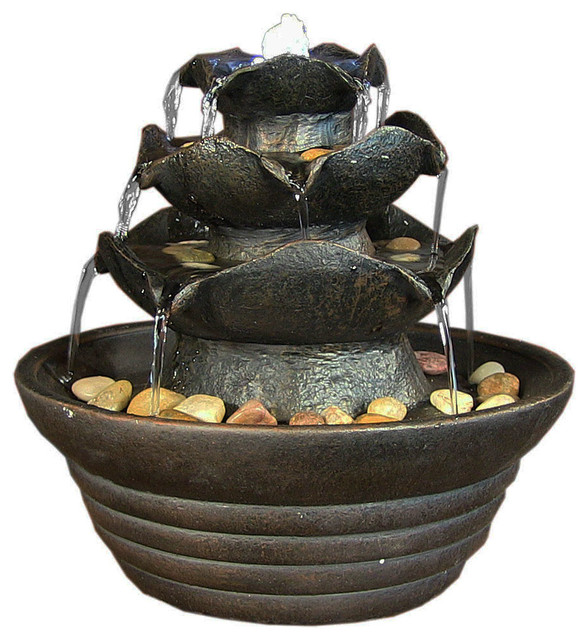 3 Tier Cascading Tabletop Fountain With Led Lights Black