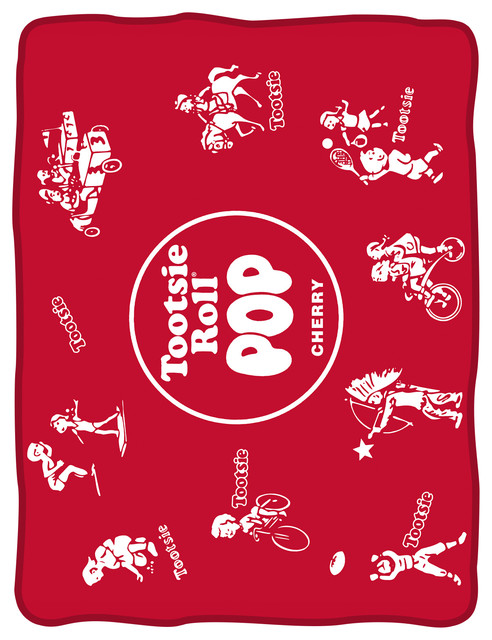 Tootsie Pop Wrapper Fleece Blanket Red Contemporary Blankets