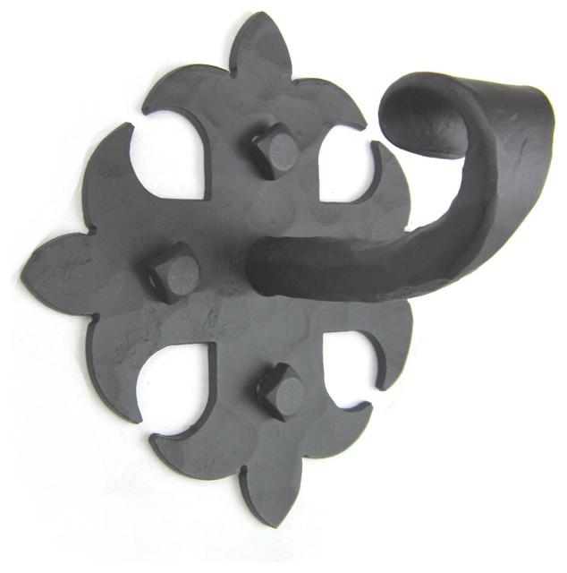 Spanish Style Wrought Iron Hook Fleur De Lis Black