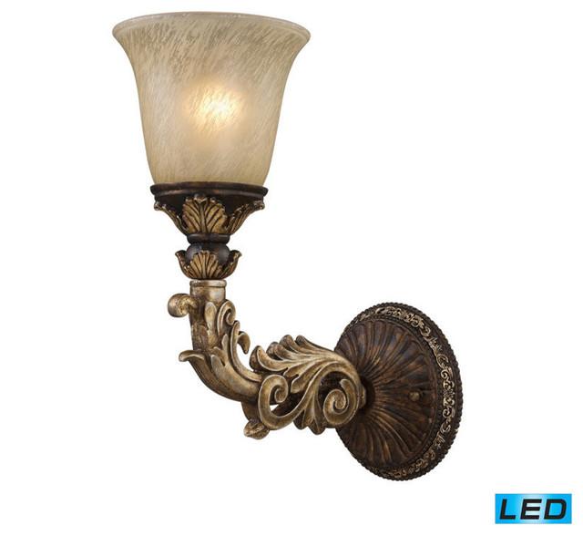 ELK Lighting Regency 1 Light LED Wall Sconce In Burnt Bronze And Gold Leaf - Victorian - Wall ...