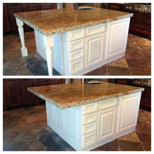 Kitchen island decorative legs or not for Granite overhang without support