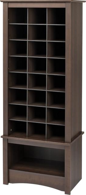 Tall Shoe Cubbie Cabinet, Espresso.