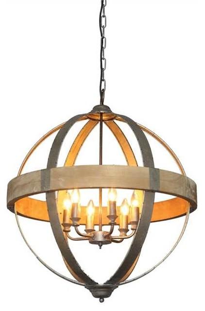 Titan Round Metal and Wood 6 Light Pendant Lamp pendant-lighting