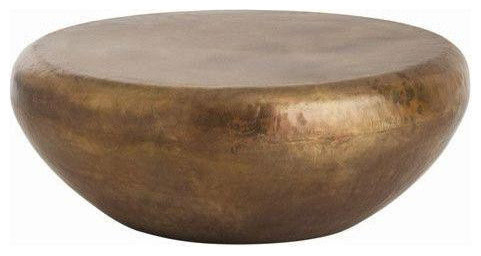Brunt Brass Drum Coffee Table contemporary-coffee-tables - Brunt Brass Drum Coffee Table