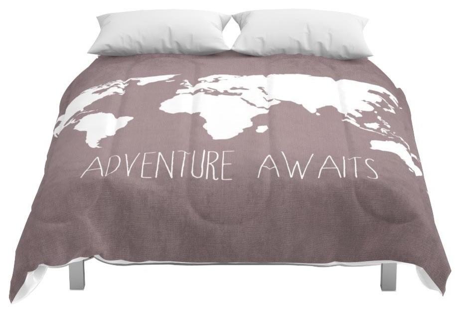Society6 Adventure Awaits World Map Comforter, King, 104x88