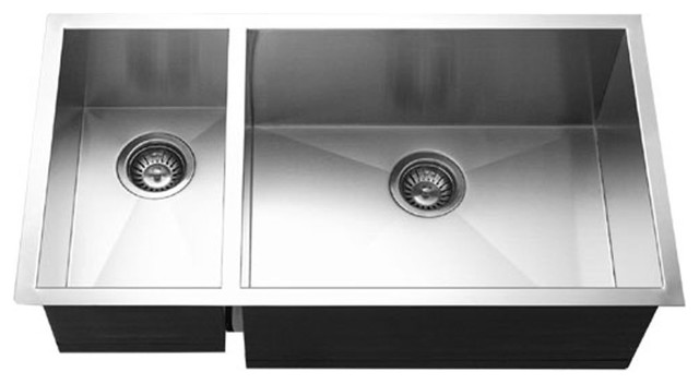 Houzer CTO-3370SL Contempo Stainless Steel 70/30 Double Bowl Sink Left prep  bowl