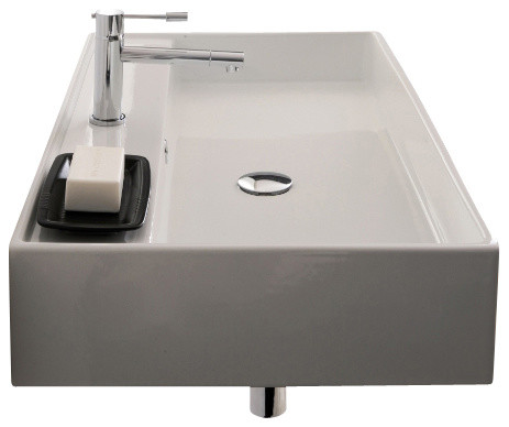Rectangular White Ceramic Wall Mounted Or Vessel Sink, One Hole.