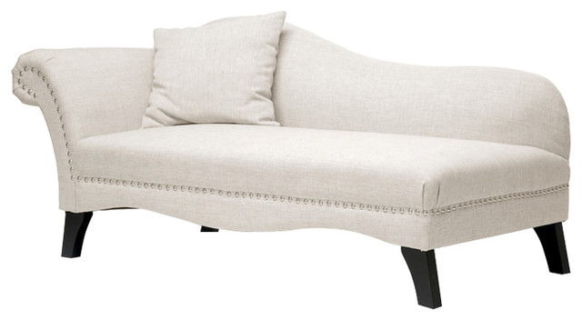 Phoebe Modern Chaise Lounge, Beige.