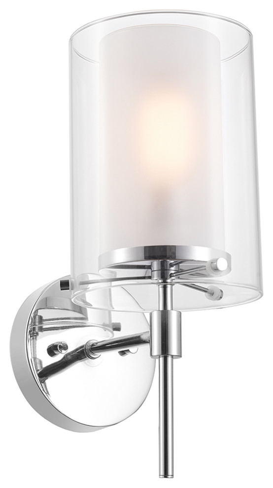 Evelina 1 Light Wall Sconce Clear Glass Outer Shade Frosted Glass Inner Shade Bathroom Vanity Lighting By Buildcom Houzz