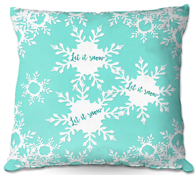 DiaNoche Outdoor Pillows By Zara Martina Let It Snow Mint Contemporary Cushions