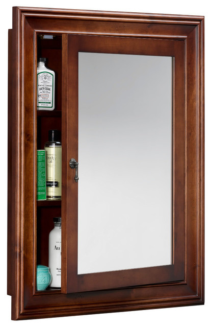 Ronbow traditional solid wood framed medicine cabinet for Wood frame medicine cabinet