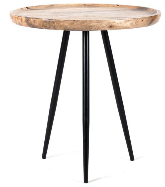 Chervey Natural Mango Wood Living Room Side Table - Midcentury ...