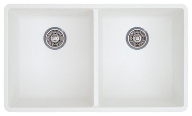 """Blanco 18.12""""x29.8"""" Granite Double Undermount Kitchen Sink, White."""