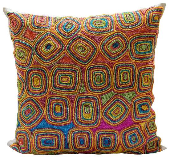 """Colorful Dream, 18""""x18"""" Art Silk Multi Color Decorative Pillows Cover."""