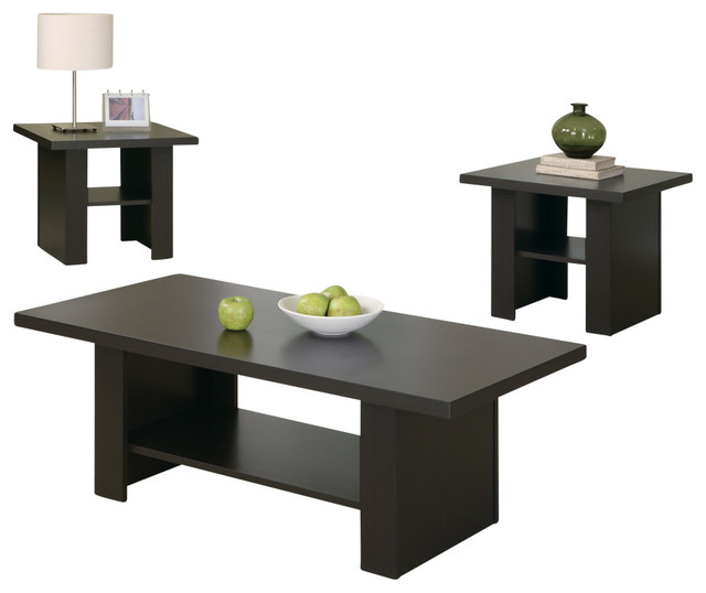 Monarch Specialties Table Set 3Piece Set Cappuccino Coffee