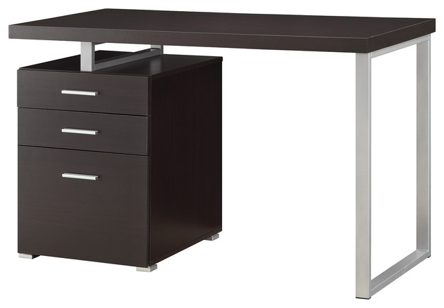 Home Office Writing Desk With 3 File Drawers, Reversible Set-Up, Cappuccino.