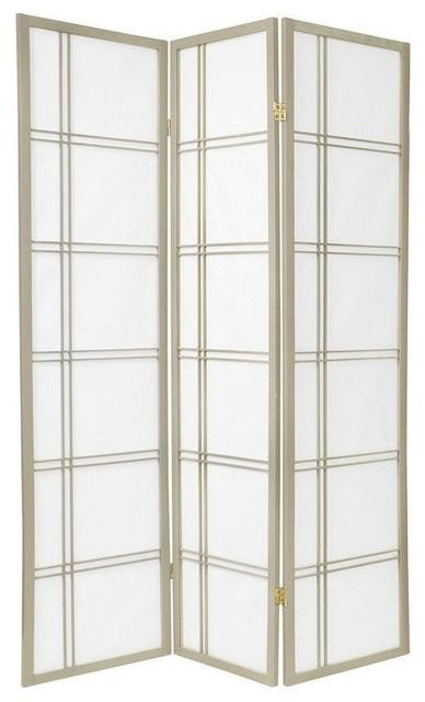 6' Tall Double Cross Shoji Screen, Special Edition, Gray, 3 Panels