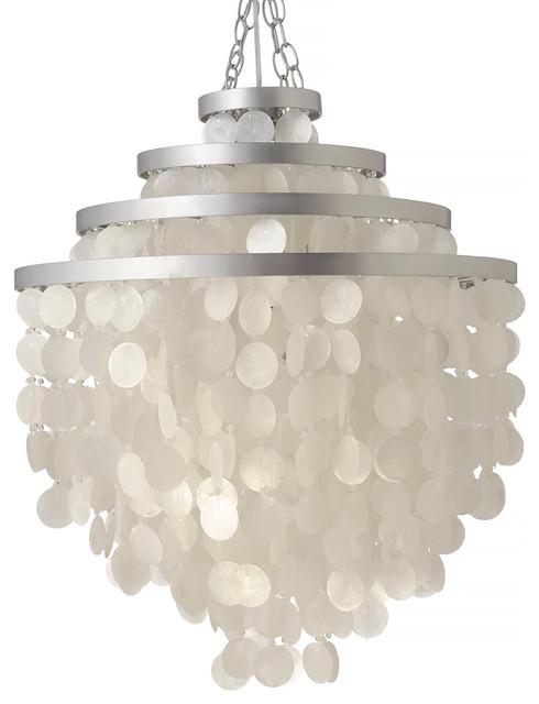 Kouboo Round Chandelier With Capiz Seashells Natural White Pendant Lighting