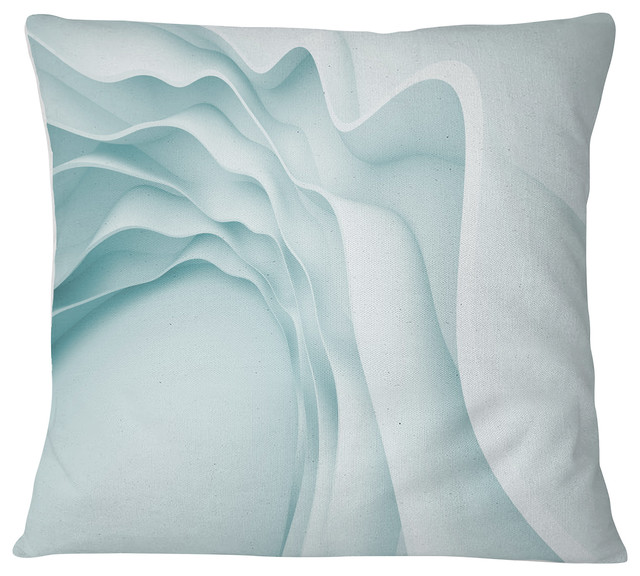 Fractal Large Blue 3D Waves Contemporary Throw Pillow, 16\