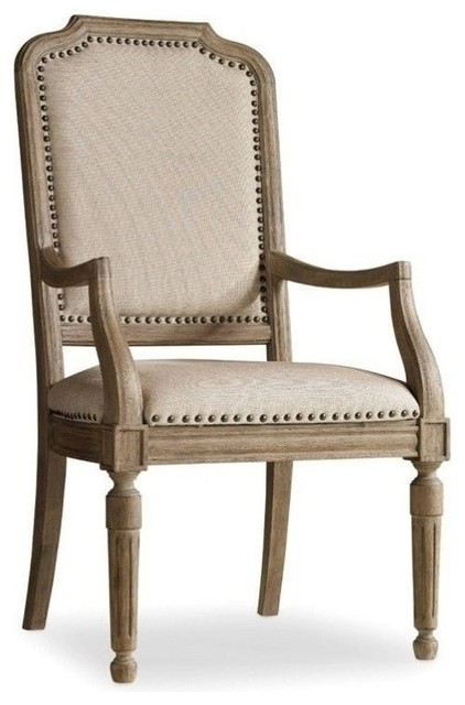 Upholstered Arm Dining Chair In Light