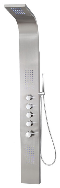 Stainless Steel Rainfall Shower Panel With Massage System, Jets and Handheld