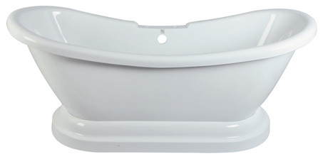 69 Pedestal Double Slipper Bath Tub With 7 Centers Drillings by Kingston Brass