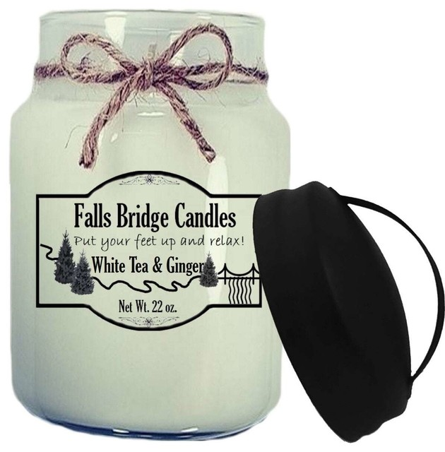 White Tea and Ginger Scented Jar Candle, 26 oz, Handle Lid