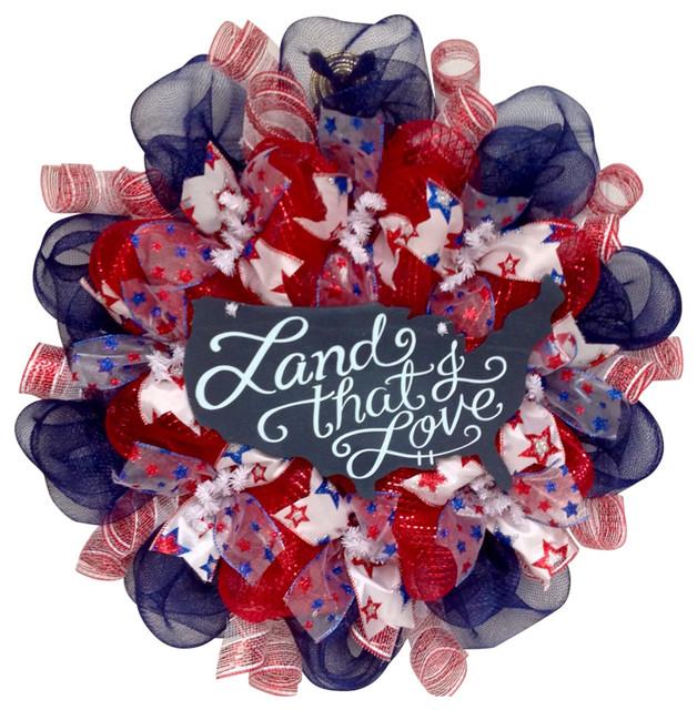 Land That I Love Patriotic Handmade Deco Mesh Wreath.