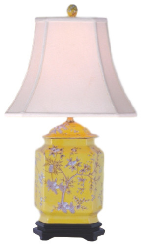 Porcelain Jar With Fruit Table Lamp, Yellow