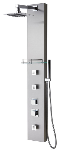 Stainless Steel Shower Panel System With  Massage Jets and Handheld, 58.25""