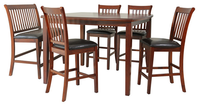 Gadsby 6 Piece Dining Set Counter Height Chest Nut