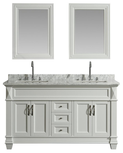Hudson 60 Transitional Double Sink Vanity With White Carrara Marble Top Transitional Bathroom Vanities And Sink Consoles By Modern Bath House