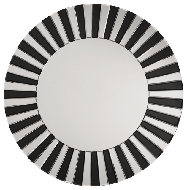 Jazz Note Round Wall Mirror With Black Glass.