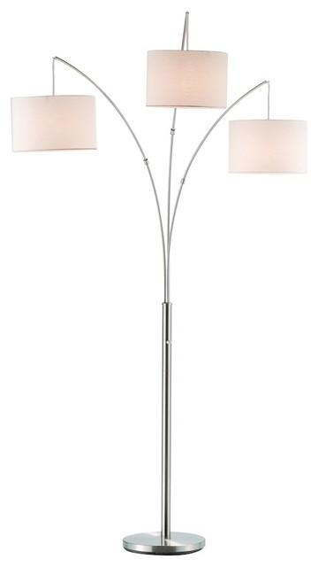 adesso 3 drum shade arc lamp antique bronze finish. Black Bedroom Furniture Sets. Home Design Ideas