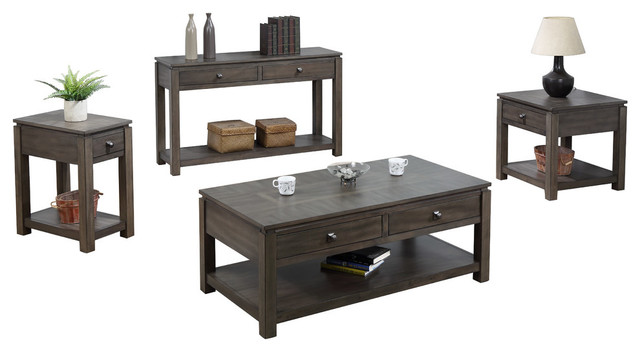 Shades Of Gray Coffee, Console And End Table Set With Drawers And Shelves