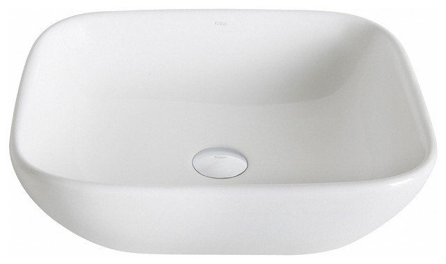 Kraus Elavo Soft Square Ceramic Vessel Bathroom Sink, White.