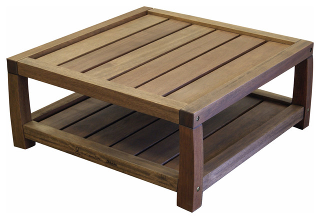 Timbo Vila Rica Hardwood Outdoor Patio Square Coffee Table transitional- outdoor-coffee-tables - Timbo Vila Rica Hardwood Outdoor Patio Square Coffee Table