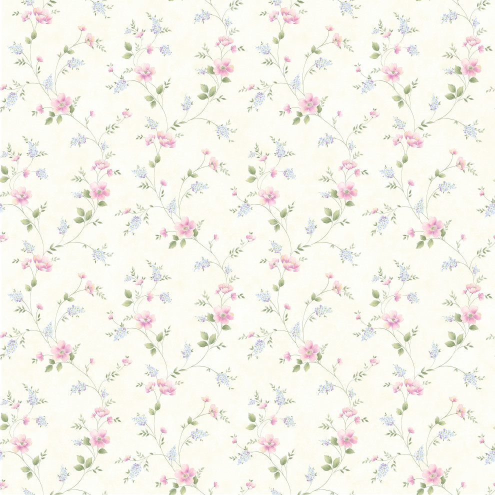 Beige Spring Bloom Trail Wallpaper Sample Contemporary Wallpaper By Brewster Home Fashions Houzz