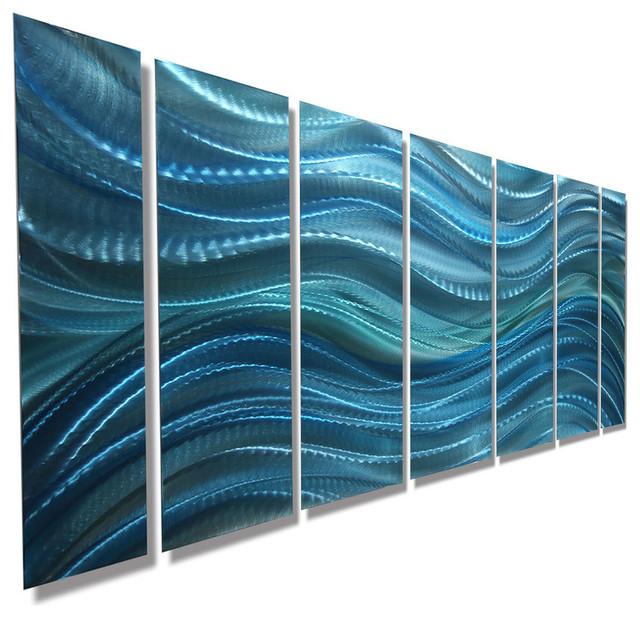 "Aqua Blue Abstract Panel Metal Wall Art, ""calm Before The Storm"", 68""x24""x2""."