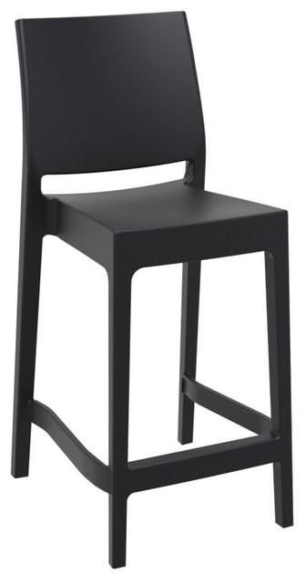 Enjoyable Maya Resin Counter Stool Set Of 2 Black Evergreenethics Interior Chair Design Evergreenethicsorg
