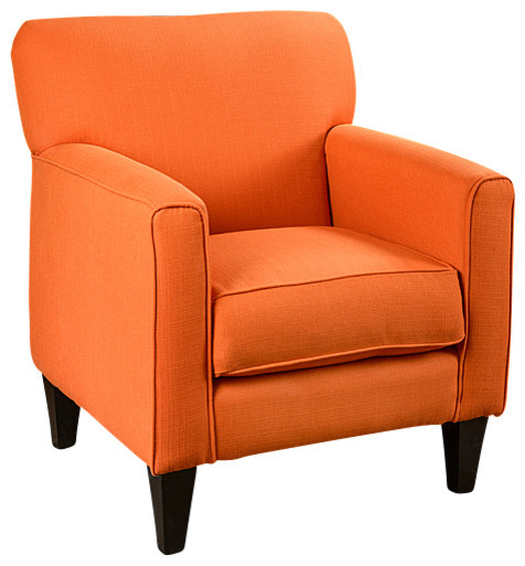 Eli Solid Orange Fabric Track Arm Accent Club Chair Contemporary Armchairs And Accent Chairs on Wingback Leather Chair And Ottoman