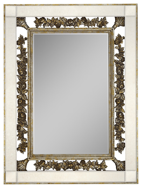 Ornate Antique Silver and Gold Leaf With Antique Mirror Border ...