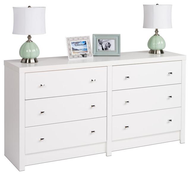 Prepac Calla 6-Drawer Dresser in White Laminate