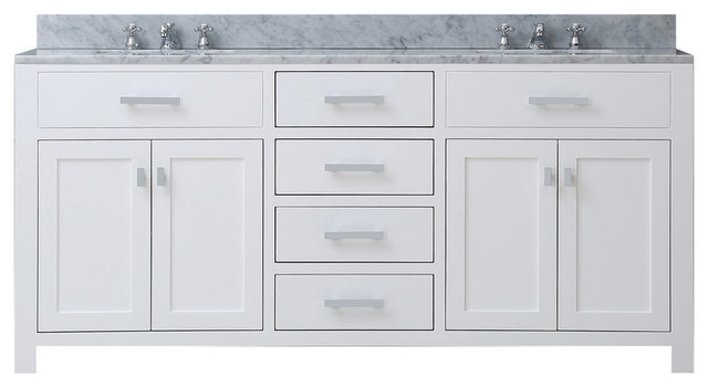 """Bartlett Pure White Bathroom Vanity, Without Mirror, Without Faucet, 60""""."""