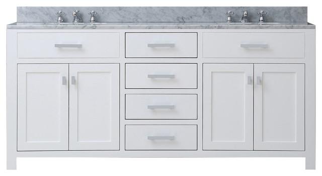 "Madison Pure White Bathroom Vanity, 60"", No Mirror, No Faucet"