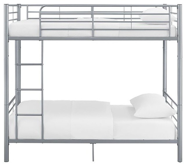Walker Edison Premium Metal Twin Over Twin Bunk Bed, Silver.